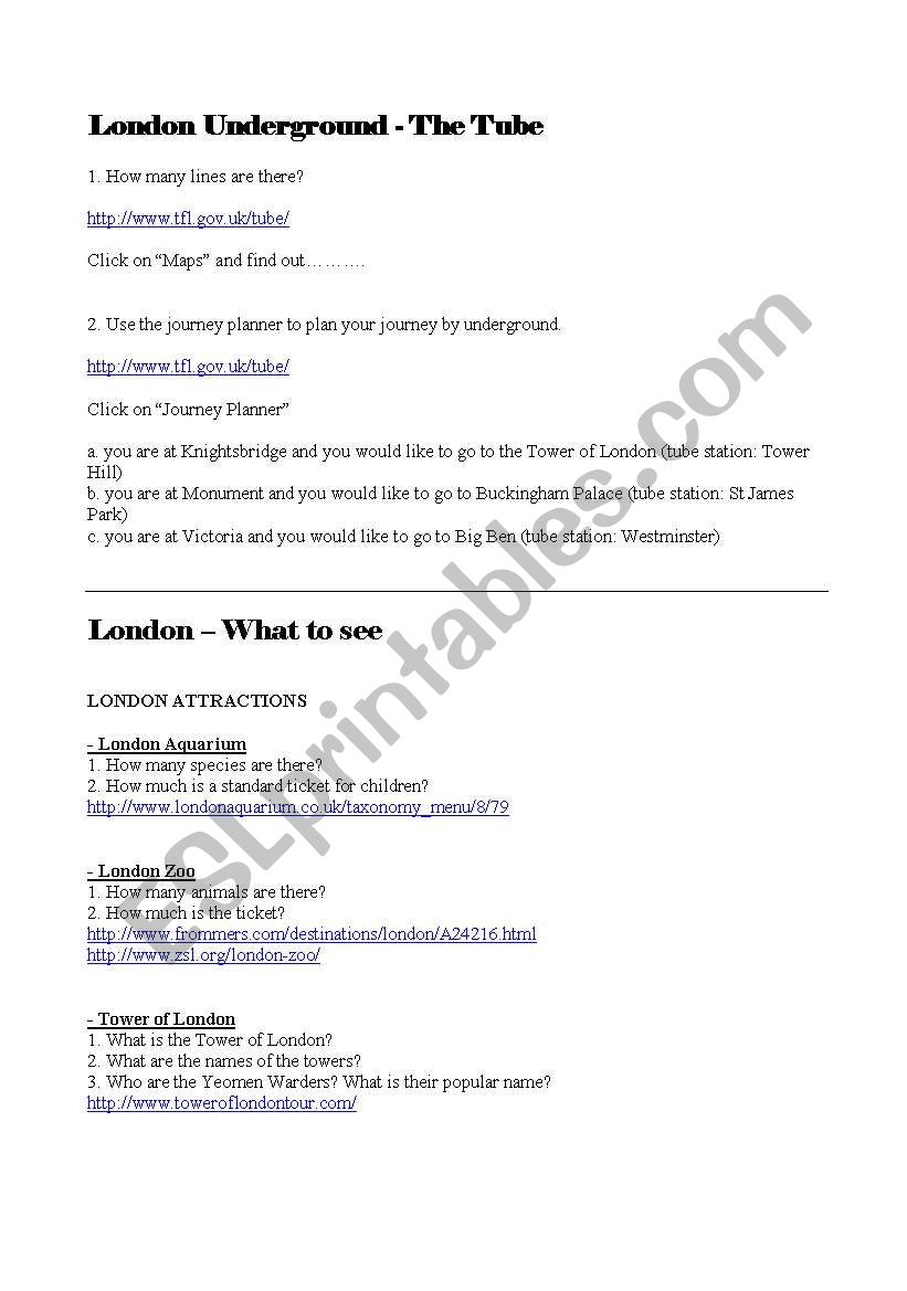London Webquest worksheet