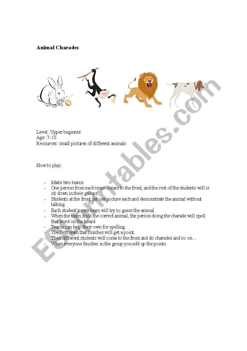 Animal Charades worksheet