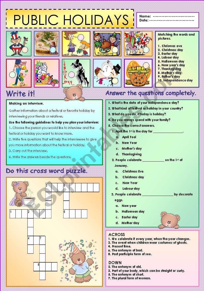 Public Holidays - ESL worksheet by Ayrin