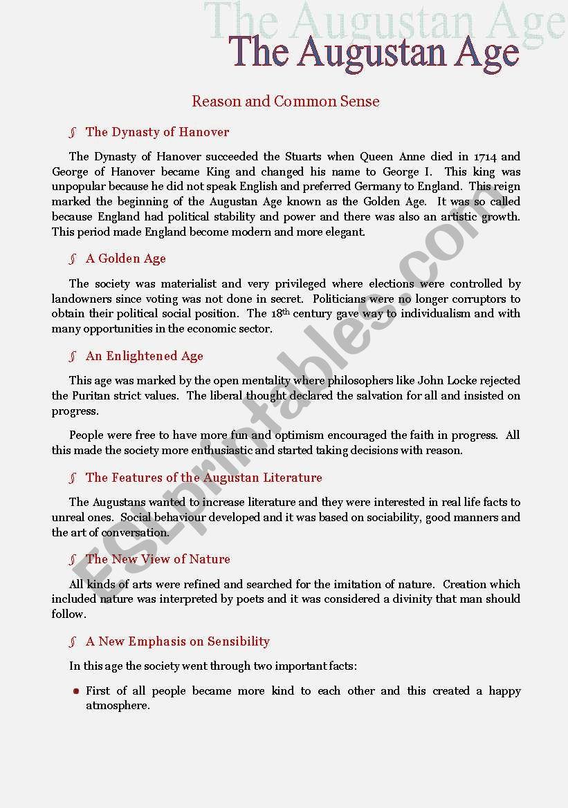 The Augustan Age worksheet