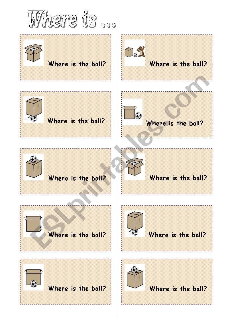 Preposition Cards worksheet