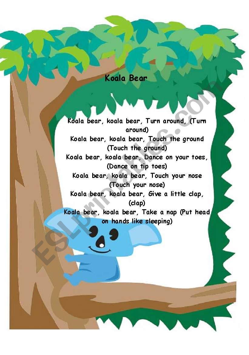 Koala Bear... Song! worksheet