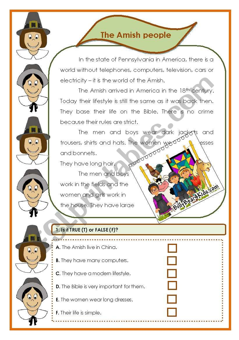 The Amish people (5 pages, 9. exercises)