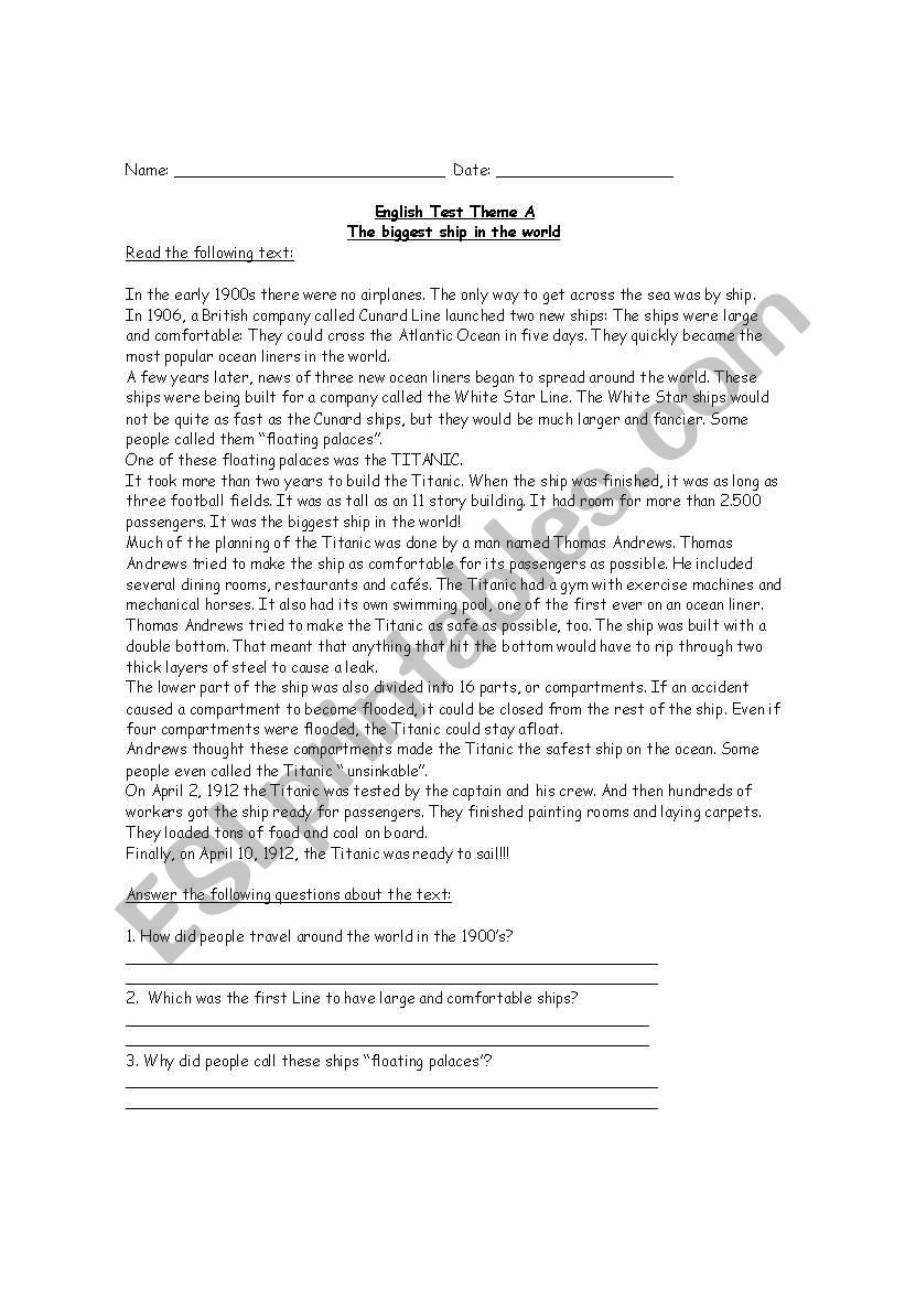 Titanic worksheet