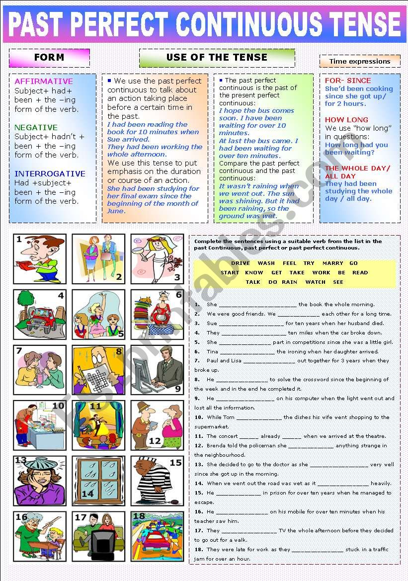THE PAST PERFECT CONTINUOUS - ESL worksheet by Katiana
