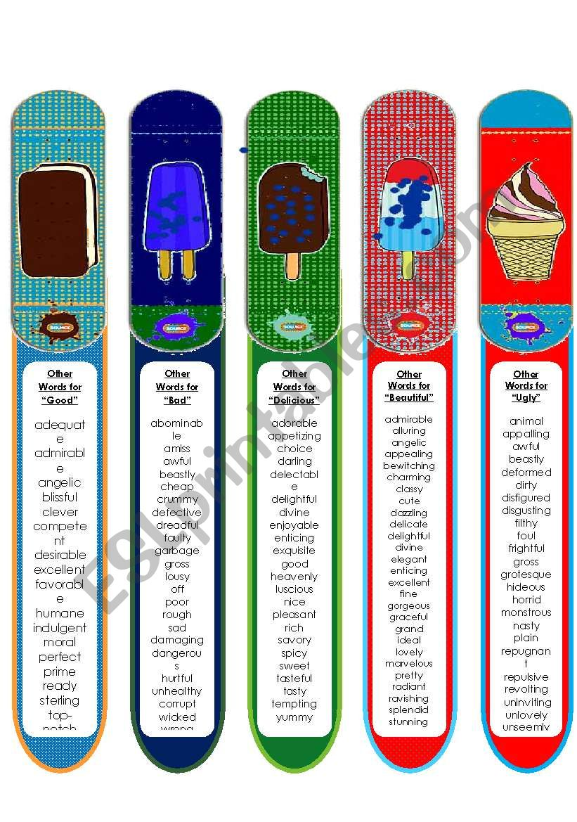 Synonym Bookmarks 3 Good Bad Beautiful Ugly Delicious Esl Worksheet By Pinky Makus The synonyms and antonyms form an integral part of the english language. synonym bookmarks 3 good bad