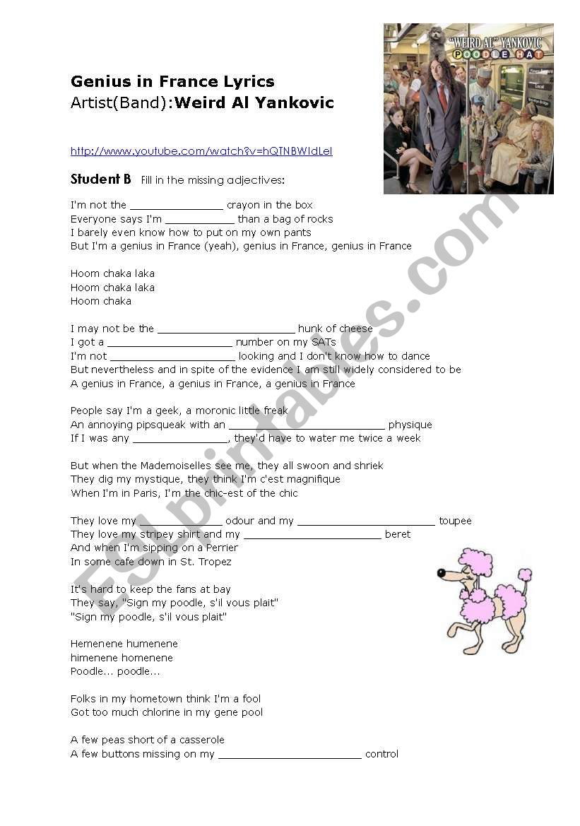 English worksheets: Genius in France idioms