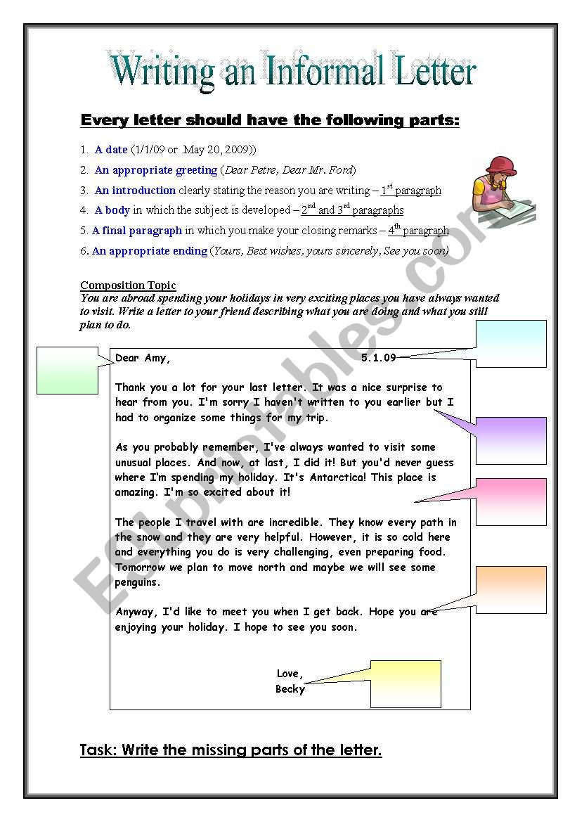 informal (friendly) letter - esl worksheet by pirchy