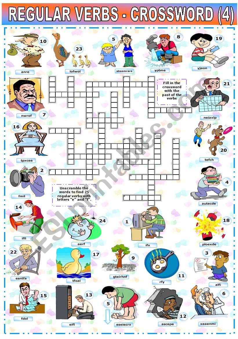 REGULAR VERBS - CROSSWORD (4) worksheet