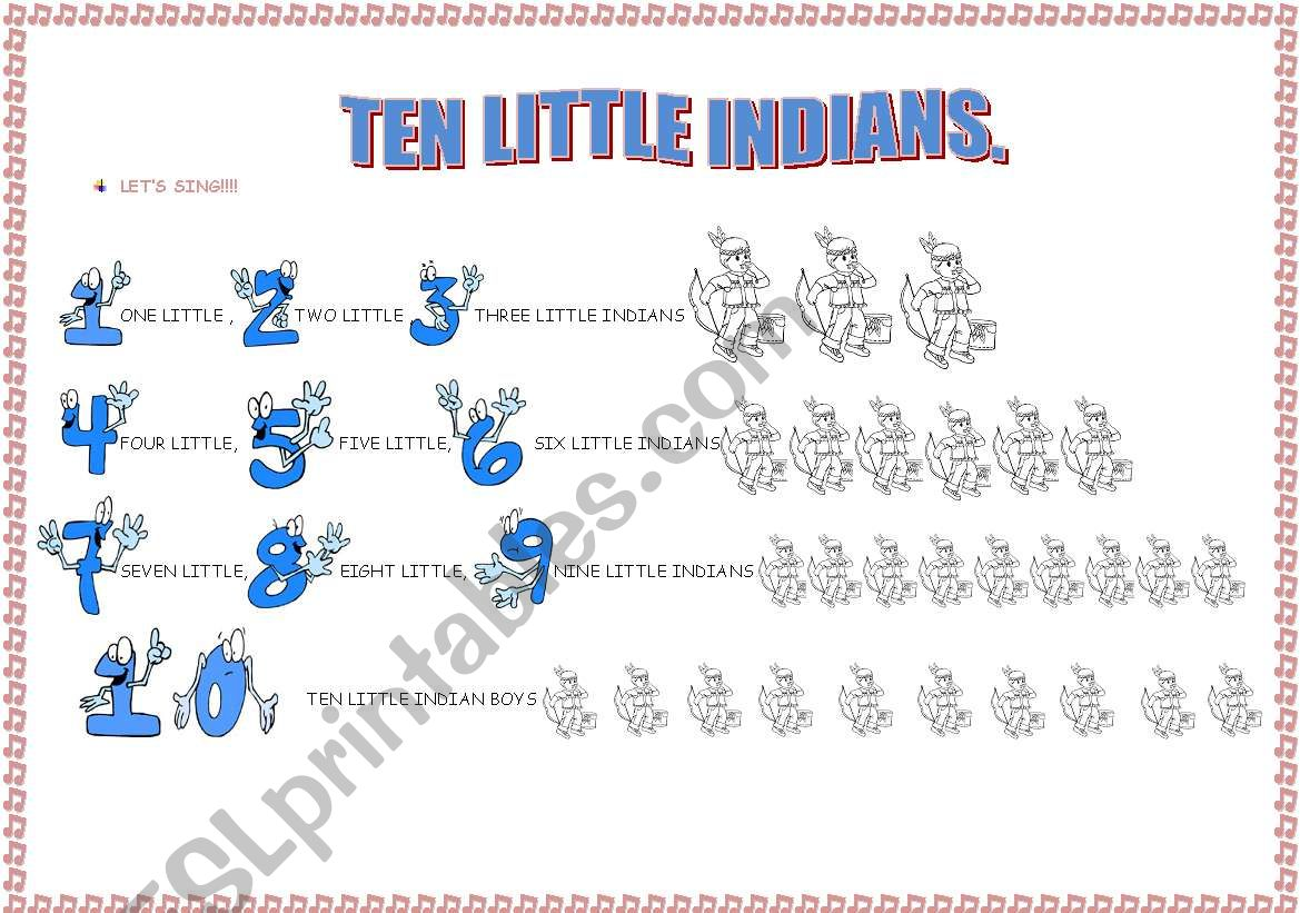 the song TEN LITTLE INDIANS (3-page exercises)