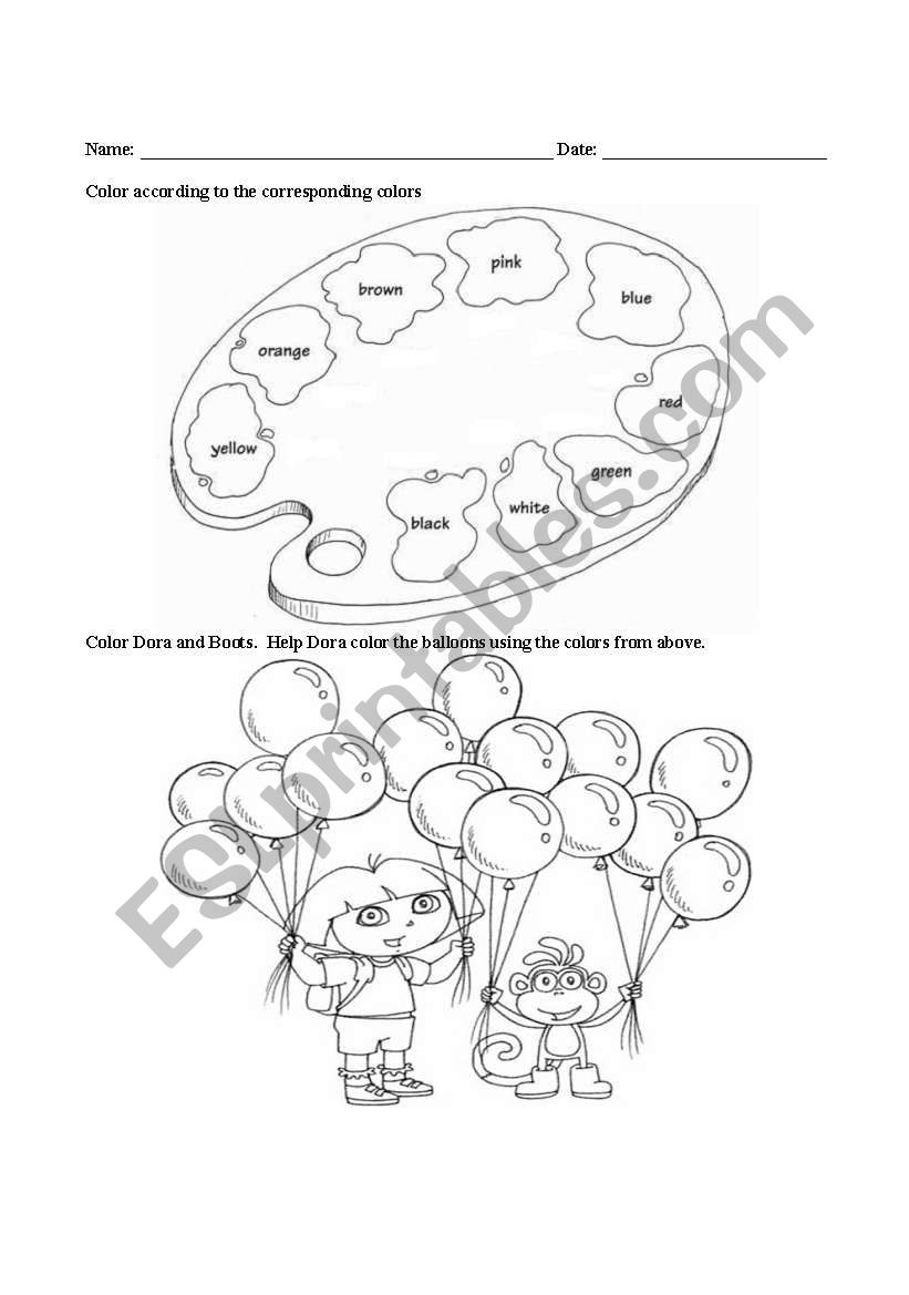 Coloring with Dora worksheet