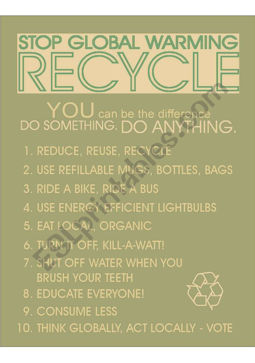 Recycle Poster worksheet
