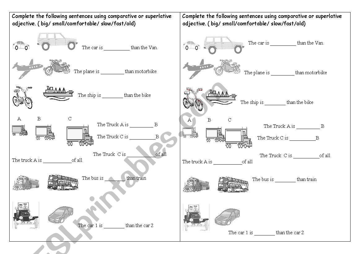 adjectives comparative superlative esl worksheet by neverrest23. Black Bedroom Furniture Sets. Home Design Ideas