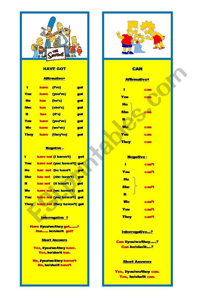 HaveGot/Can Bookmarks worksheet