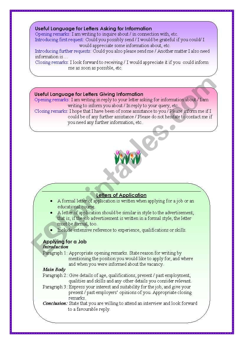 formal letters esl worksheet by pirchy