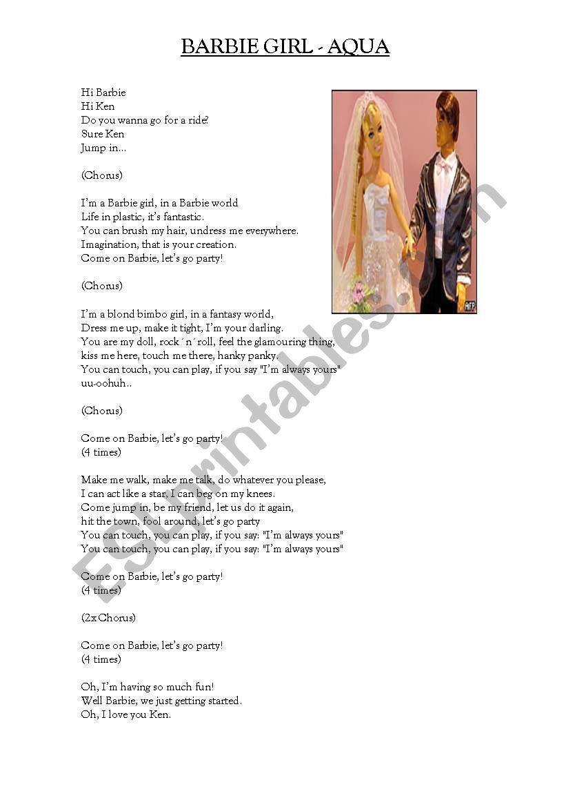 BARBIE GIRL BY AQUA worksheet