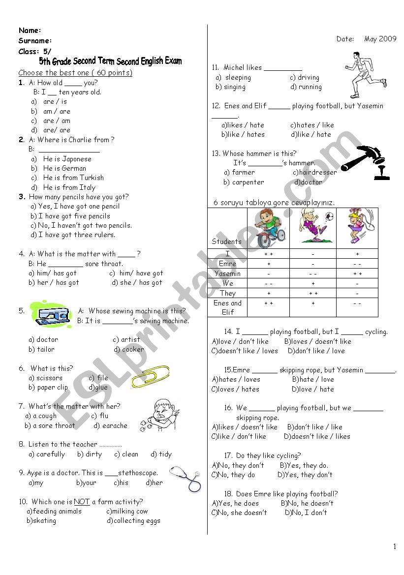 exam for 5th grade worksheet