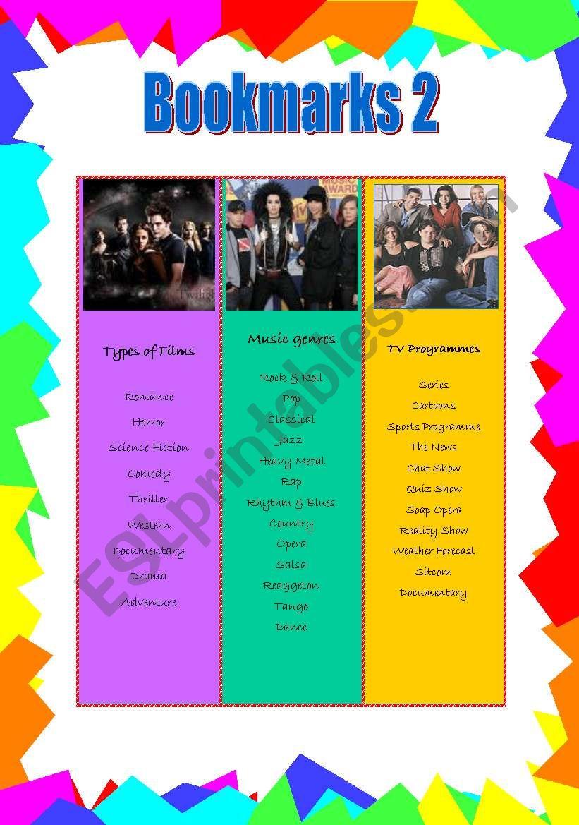 Bookmarks 2 worksheet