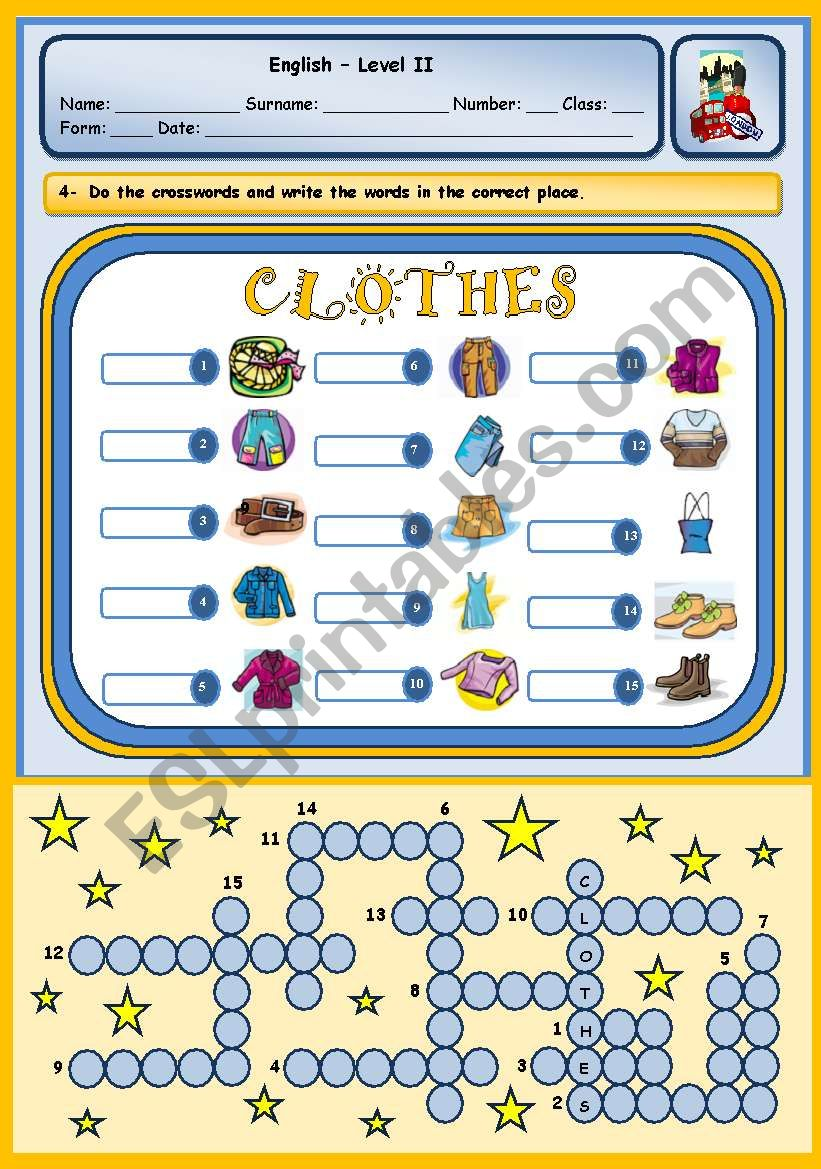 CLOTHES PUZZLE worksheet
