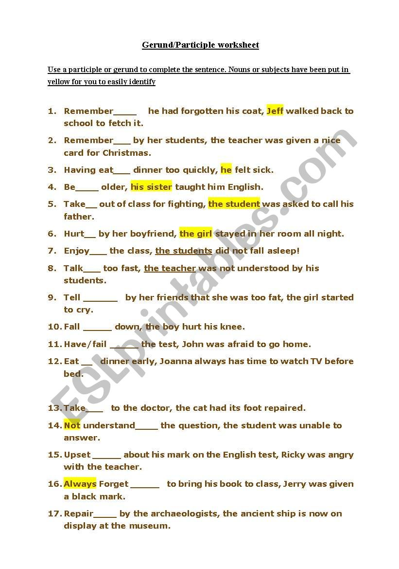 Using Gerunds To Infinitives And Participles ESL