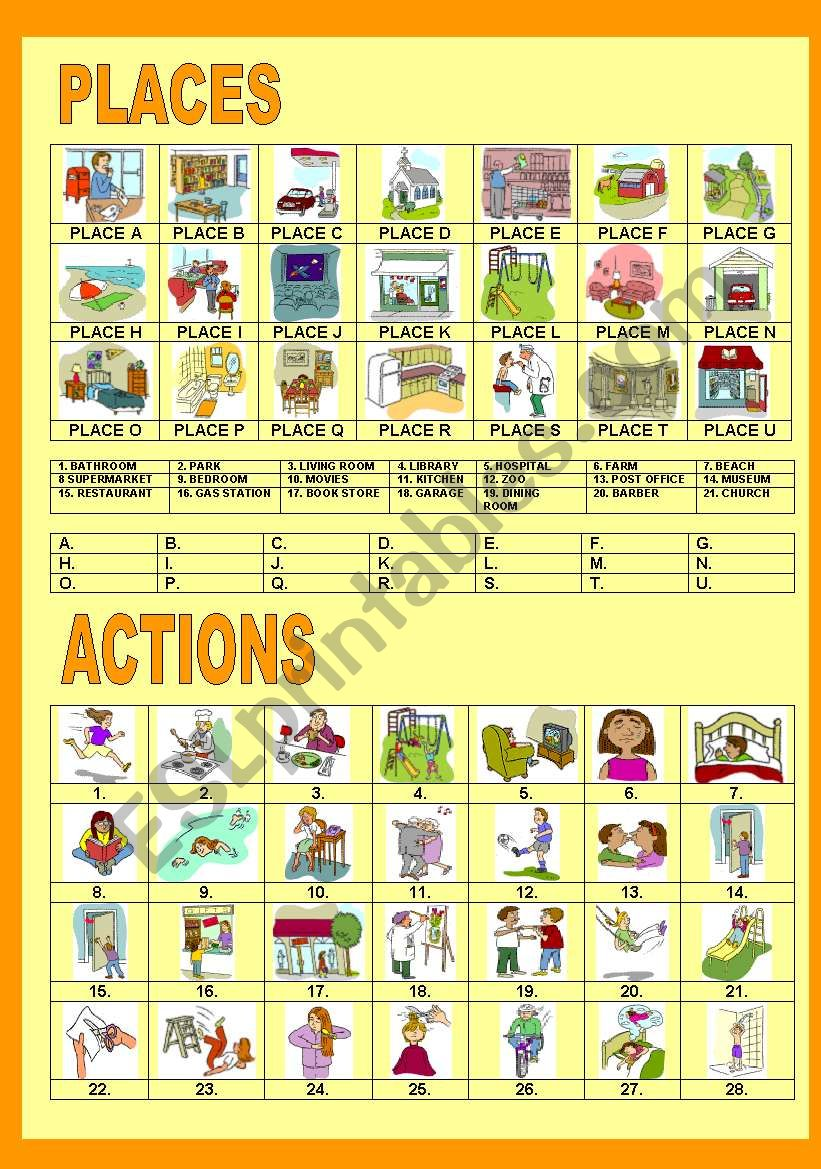 PLACES AND ACTIONS worksheet