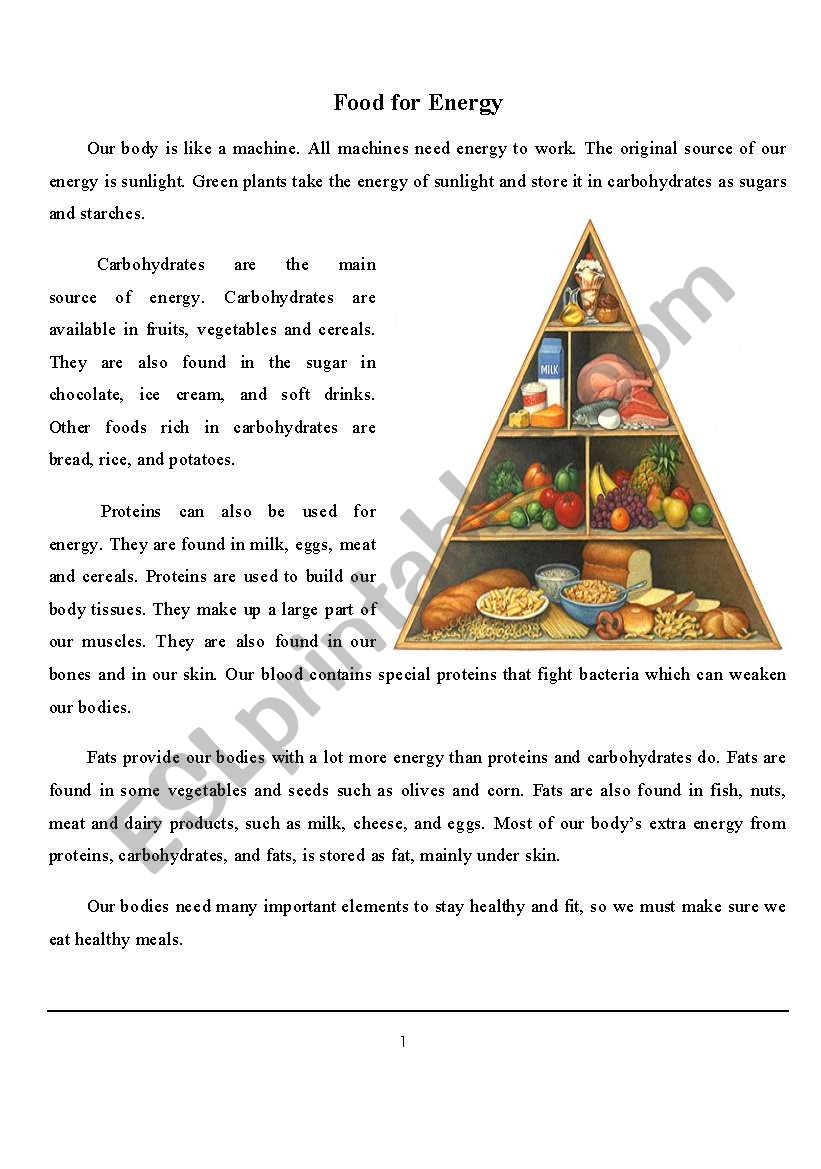 FOOD FOR ENERGY worksheet