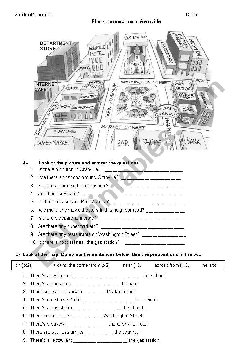 Places aroun town worksheet