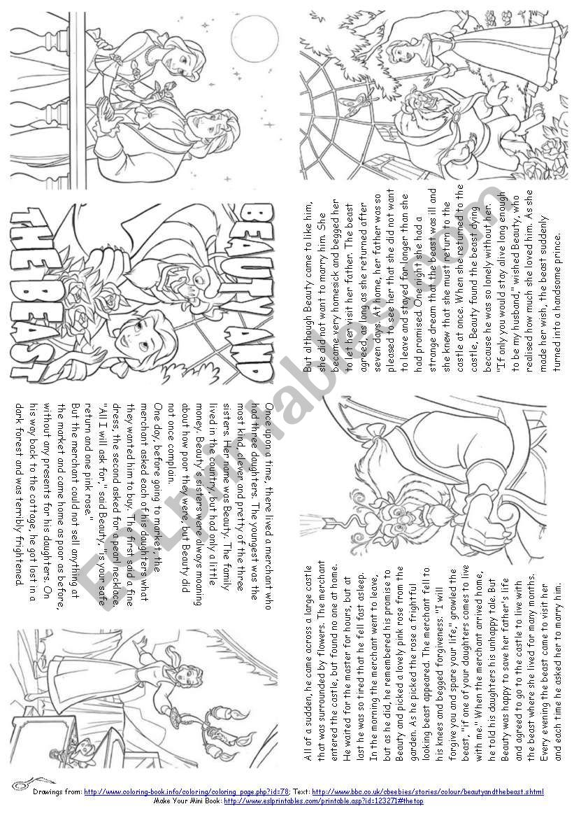 Beauty And The Beast Story Mini Book Esl Worksheet By Alenka
