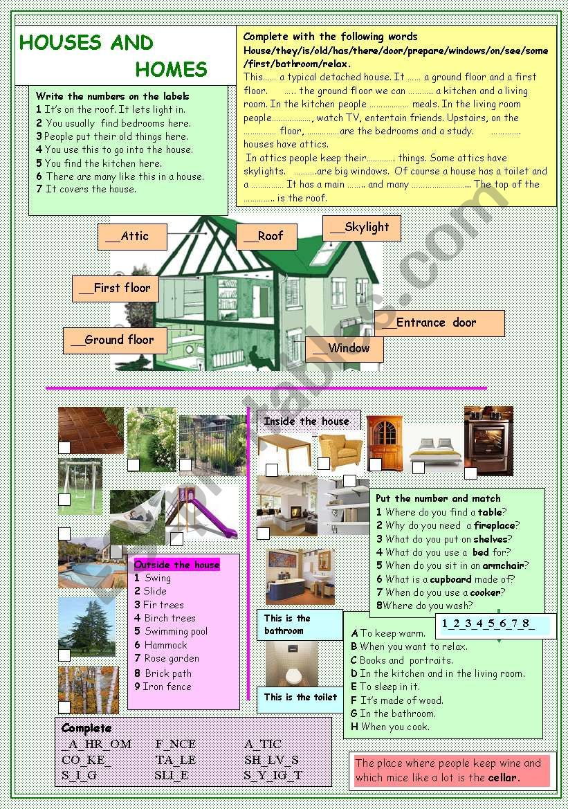 Houses and homes worksheet