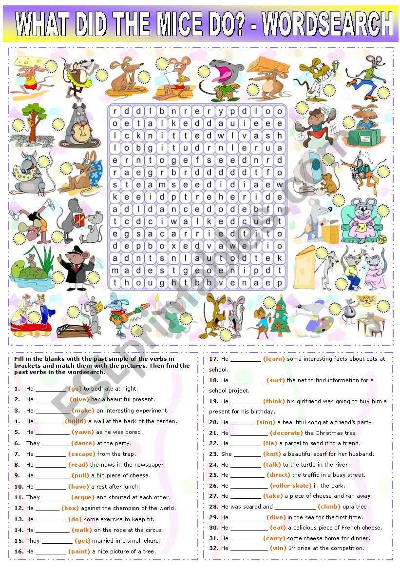 WHAT DID THE MICE DO? -PAST SIMPLE REGULAR AND IRREGULAR VERBS + WORDSEARCH