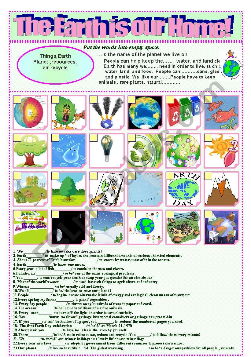 Our home is our Earth! worksheet