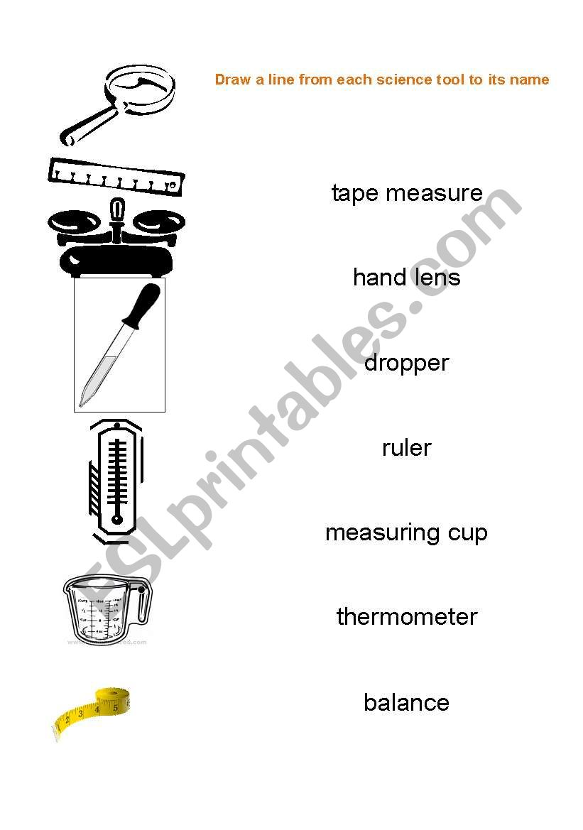 English Worksheets Science Tools