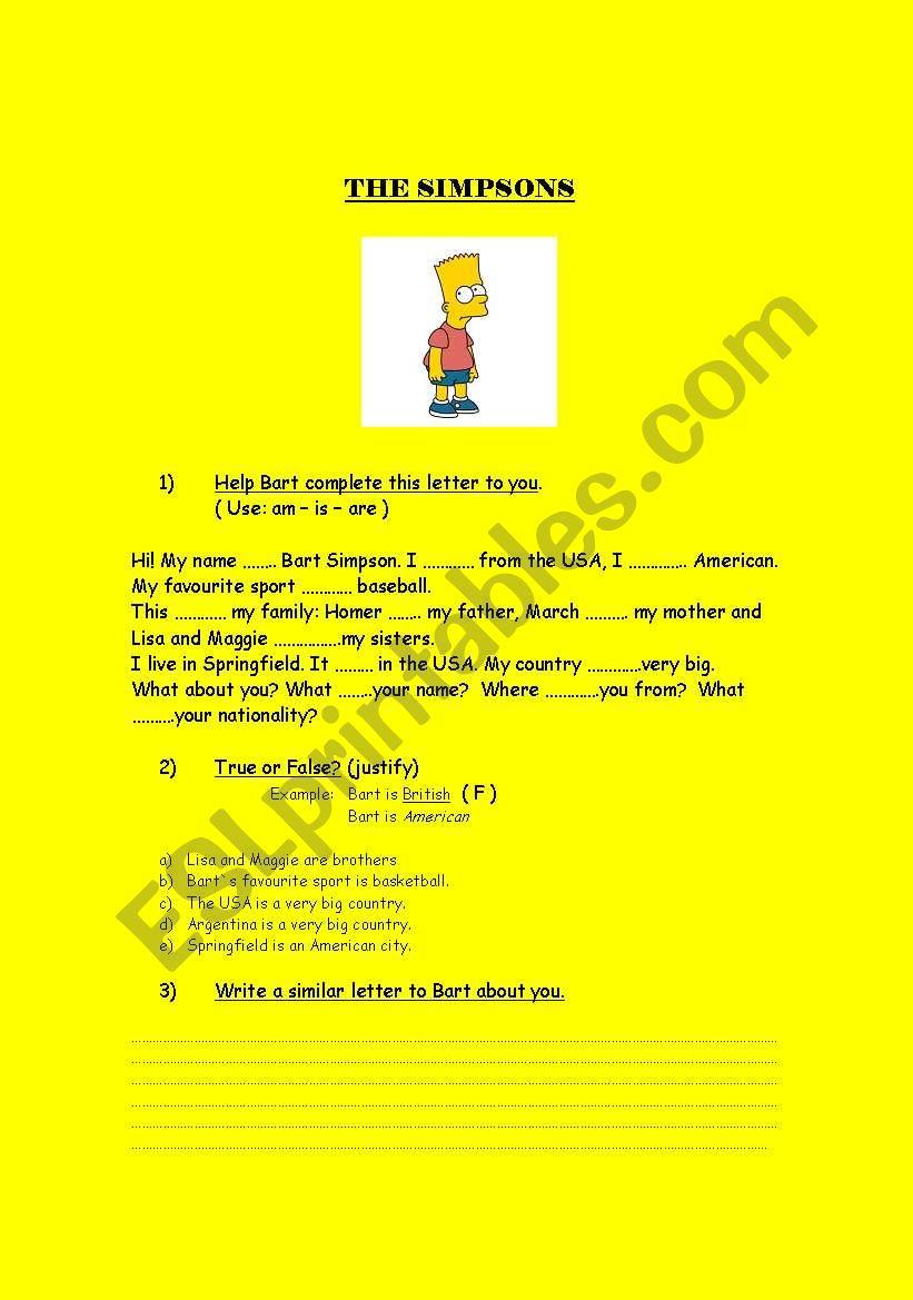 The Simpsons - Verb to BE worksheet