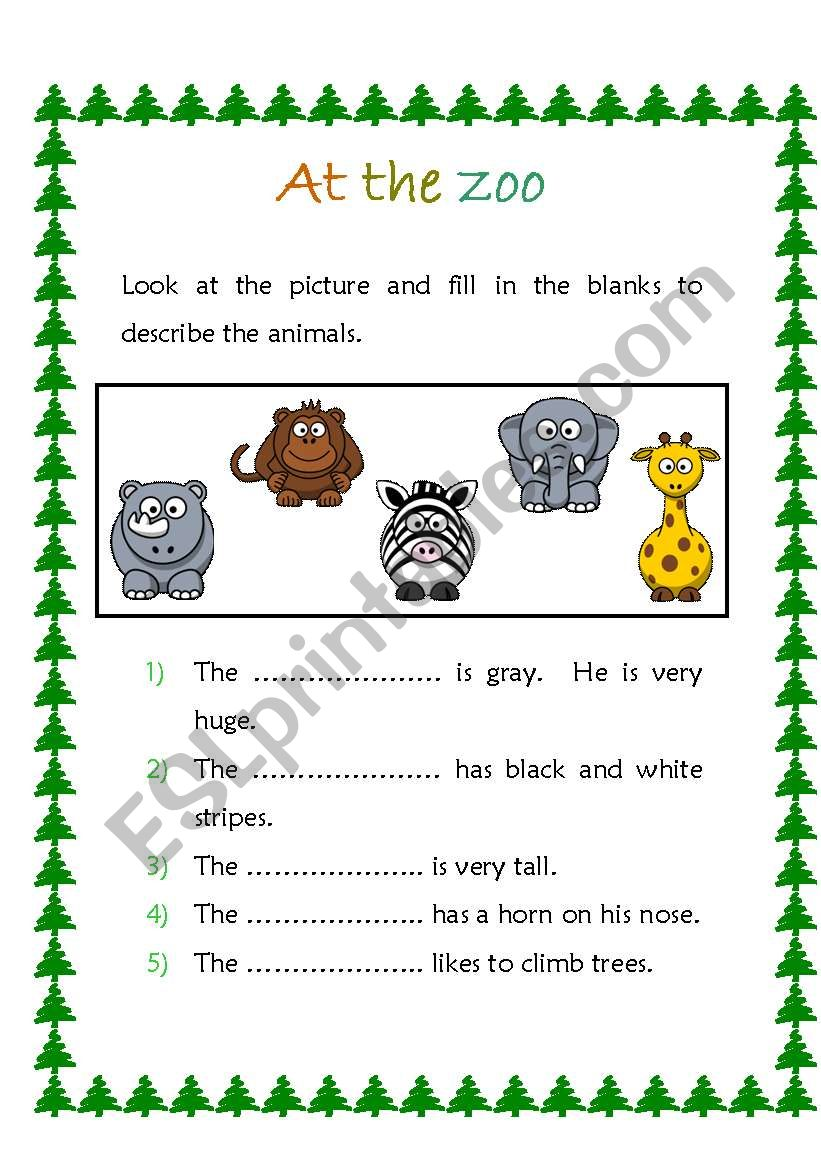 At the zoo  worksheet