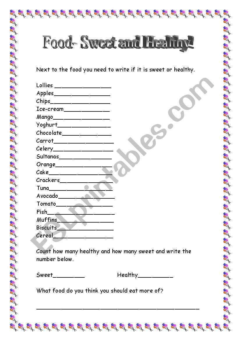 Food. Sweet and Healthy. worksheet