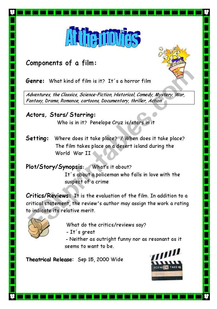At the movies (2/4) worksheet