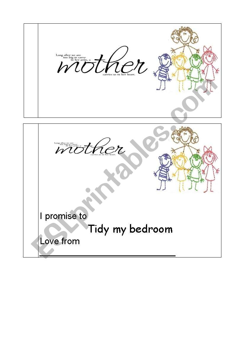 Mothers day vouchers worksheet