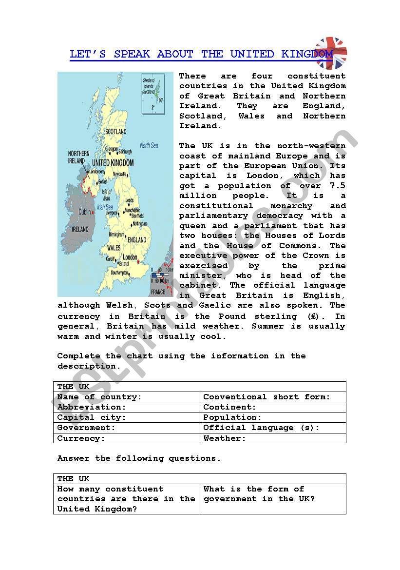 LET´S SPEAK ABOUT THE UK worksheet