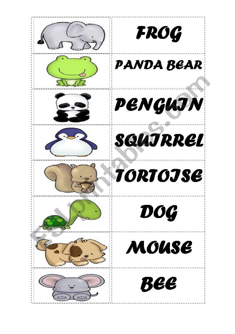 ANIMALS - DOMINOES PART 2 worksheet