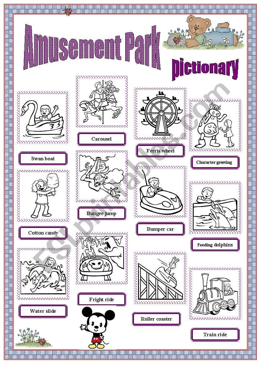 Amusement park - pictionary worksheet