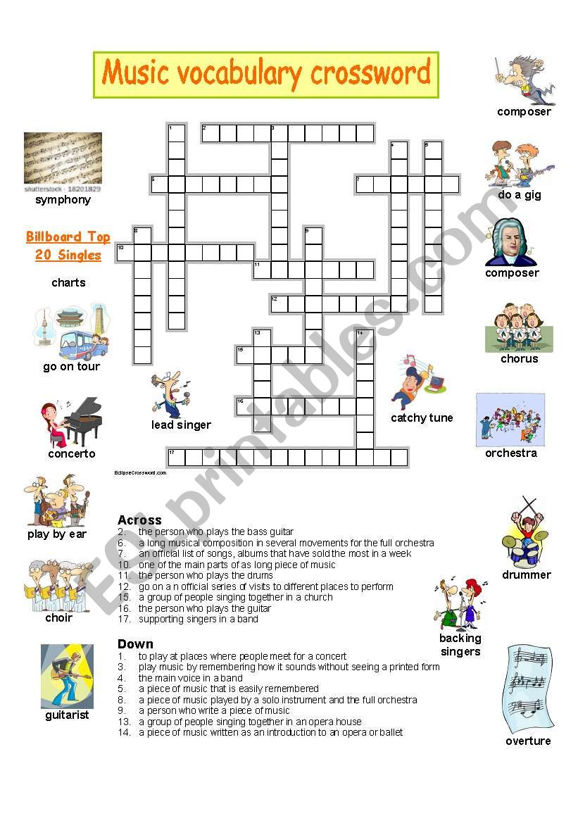 music vocabulary crossword worksheet
