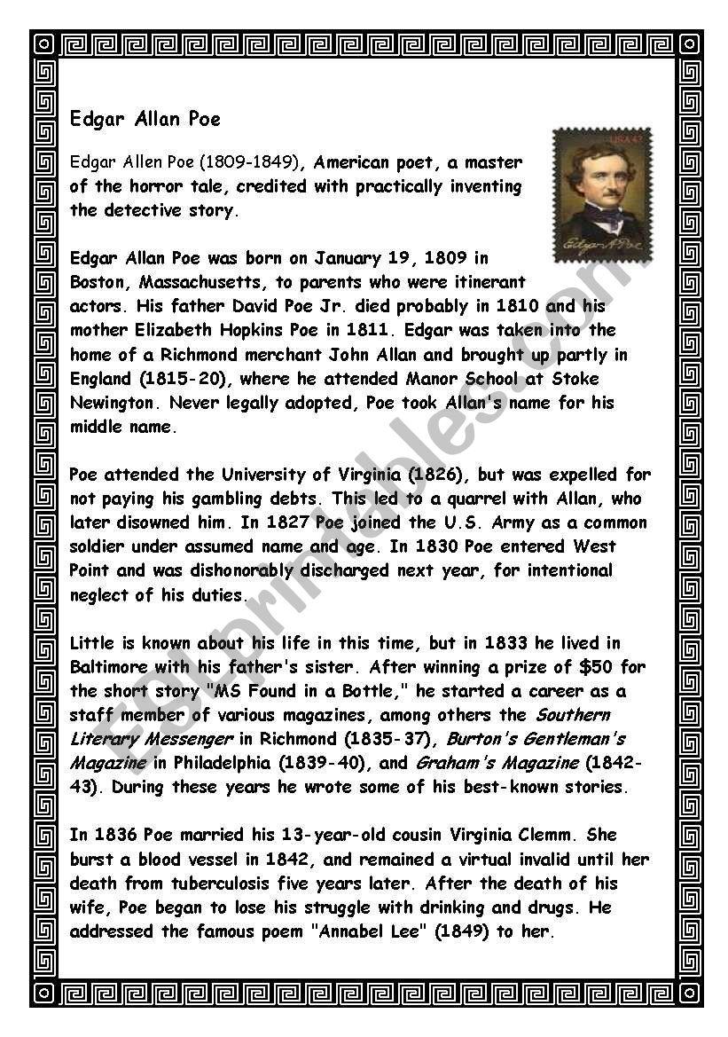 Edgar Allan Poe´s biography - ESL worksheet by lotas