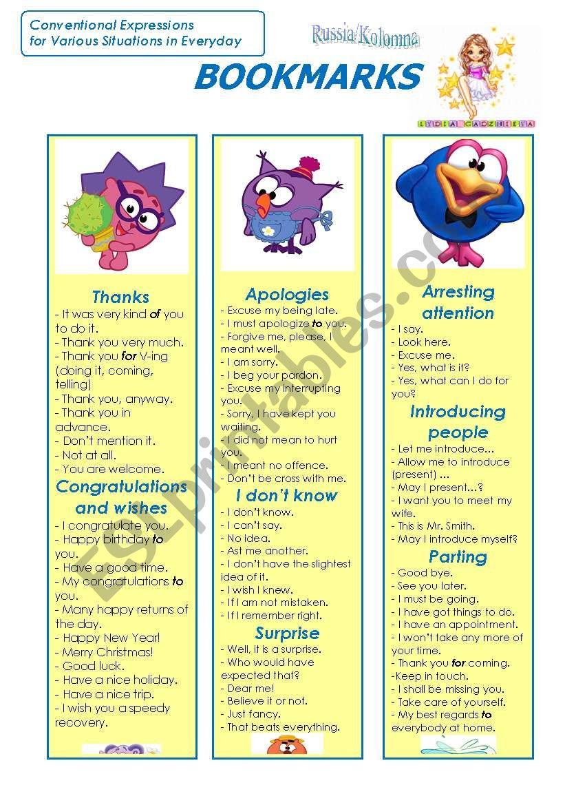 Bookmarks (Part 1) worksheet