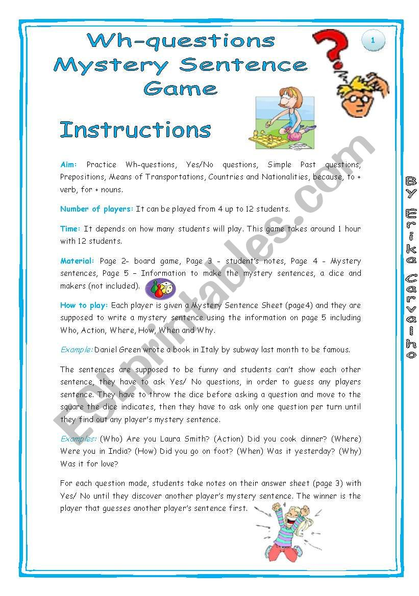 Wh-questions Mystery Game - ESL worksheet by erika_andel