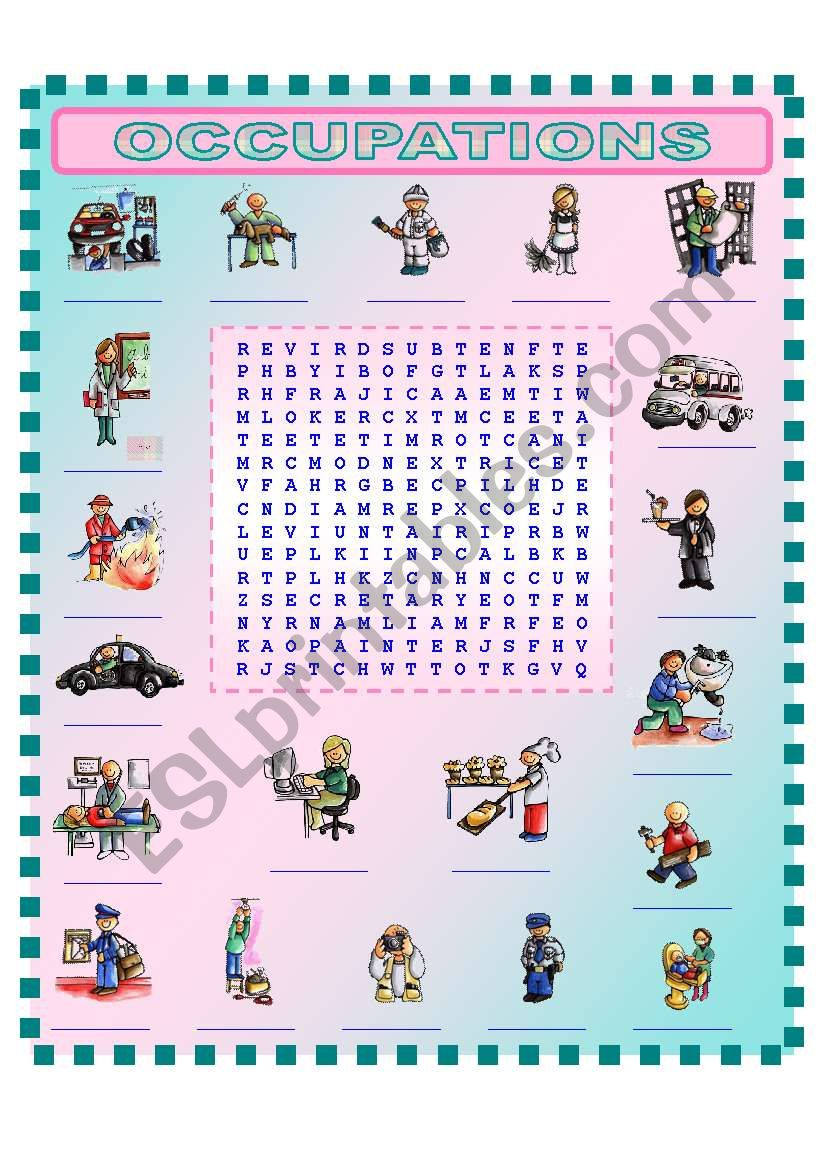 OCCUPATIONS  (3/3)  wordsearch