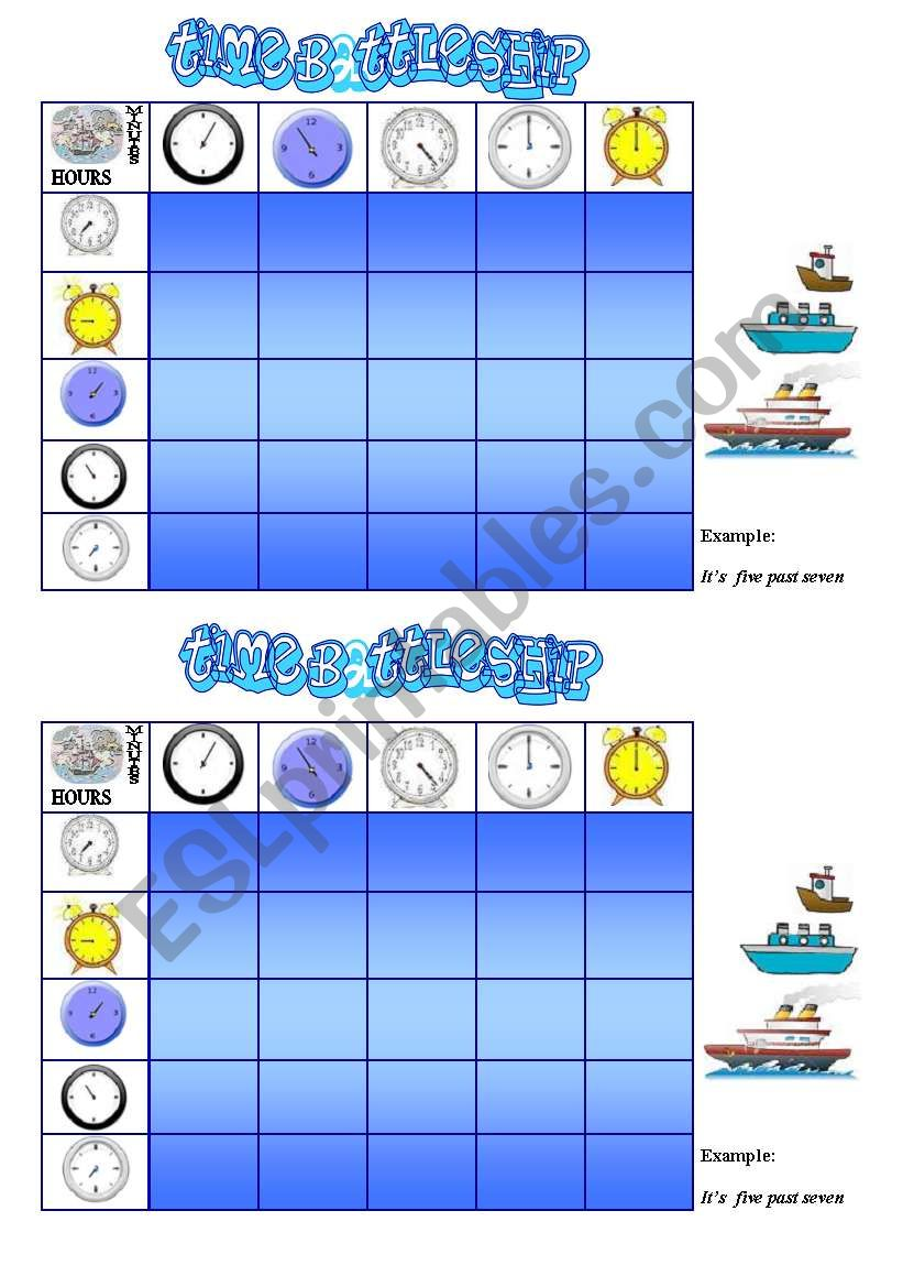 TIME BATTLESHIP GAME  ( cards and game procedure)