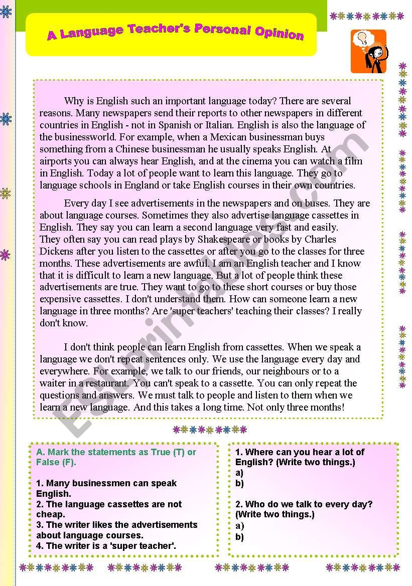 - A LANGUAGE TEACHER´S PERSONAL OPINION - READING PASSAGE WITH