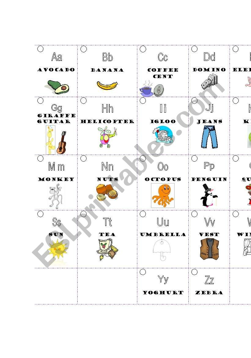 ABC cards worksheet