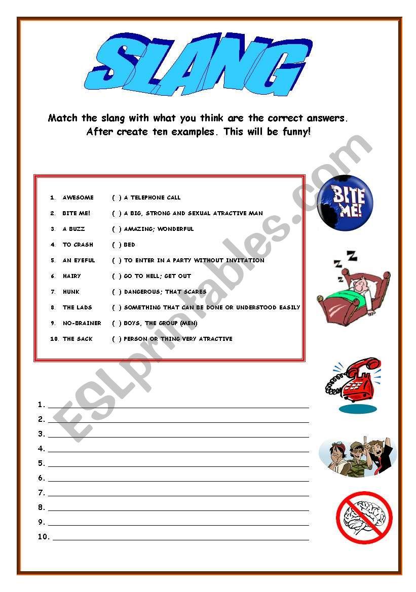 Slang - ESL worksheet by NandoGledson