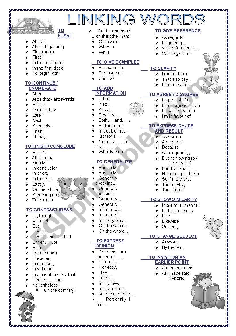 Linking Words Esl Worksheet By Dan1238